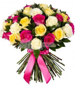 Букет из 21 Эквадорской разноцветной розы